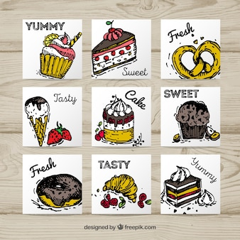 Collection de carte de nourriture savoureuse dessinés à la main