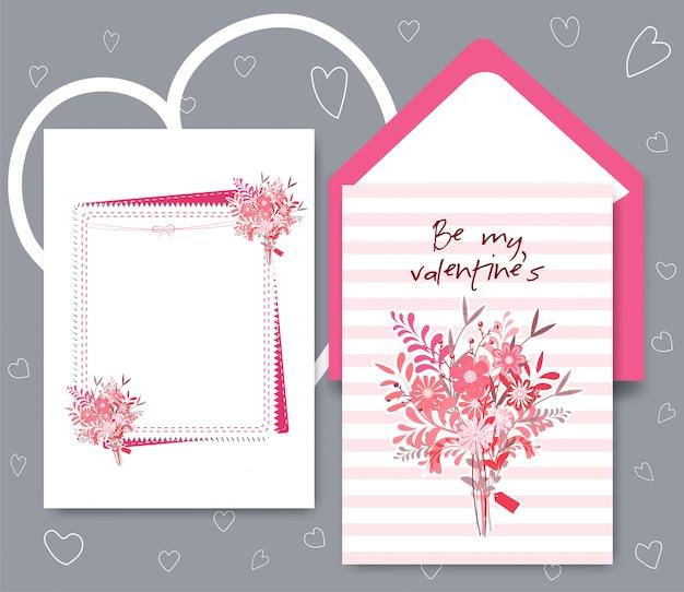 Collection de carte de saint valentin de couleur blanc rose.