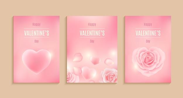 Collection de carte de saint valentin, vente, affiche, carte, étiquette, illustration de jeu de conception de bannière