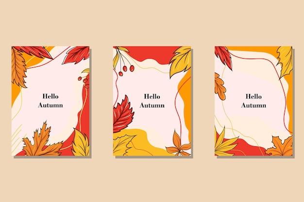 Collection de cartes abstraites automne plat dessinés à la main