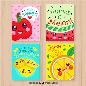 Collection de cartes alimentaires avec un design plat