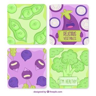 Collection de cartes alimentaires dessinés à la main