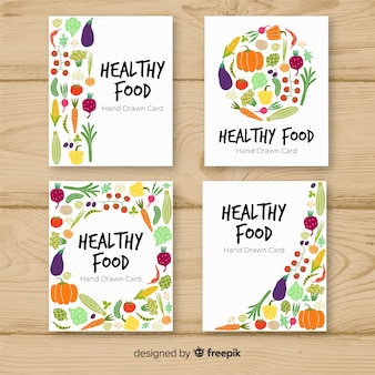 Collection de cartes d'aliments sains