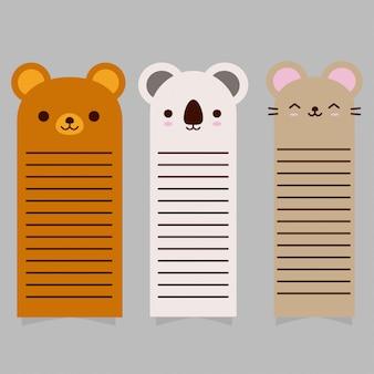 Collection de cartes d'animaux mignons