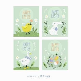 Collection de cartes d'animaux de pâques