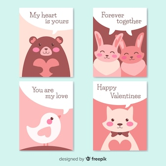 Collection de cartes d'animaux de la saint-valentin