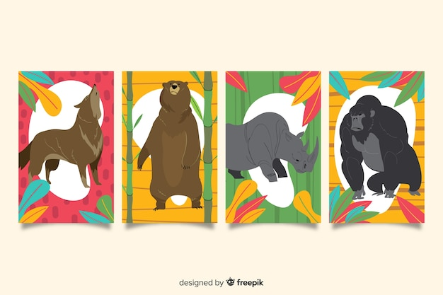 Collection de cartes d'animaux sauvages dessinées à la main