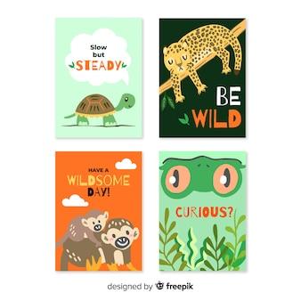 Collection de cartes d'animaux sauvages dessinées à la main