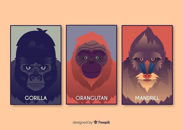 Collection de cartes d'animaux sauvages réaliste