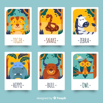 Collection de cartes d'animaux sauvages