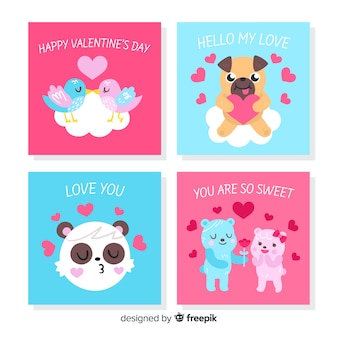 Collection de cartes d'animaux valentine