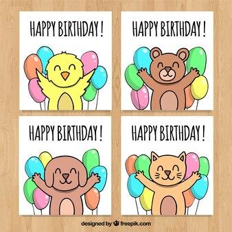 Collection de cartes d'anniversaire avec des animaux et des ballons mignons