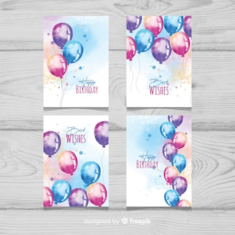 Collection de cartes d'anniversaire aquarelle ballons