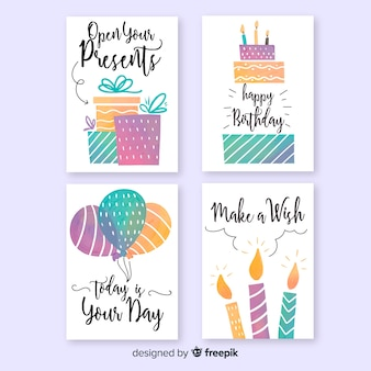 Collection de cartes d'anniversaire aquarelle