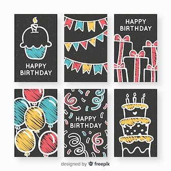 Collection de cartes d'anniversaire blackboard