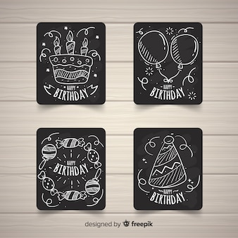 Collection de cartes d'anniversaire blackboard