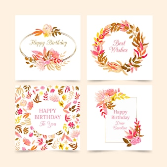 Collection de cartes d'anniversaire avec collection de fleurs