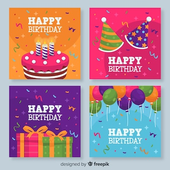Collection de cartes d'anniversaire colorées