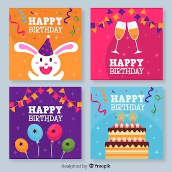 Collection de cartes d'anniversaire colorées