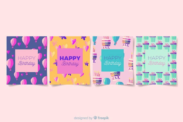 Collection de cartes d'anniversaire dans un style aquarelle