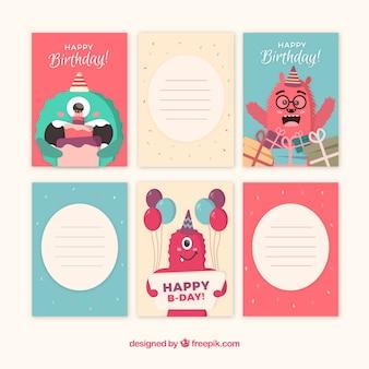 Collection de cartes d'anniversaire dans un style plat