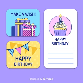 Collection de cartes d'anniversaire design plat