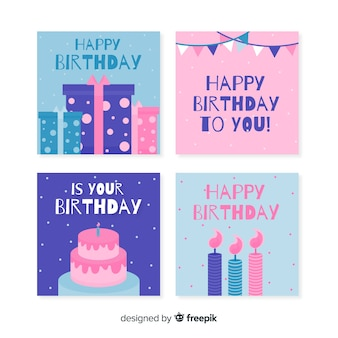 Collection de cartes d'anniversaire design plat