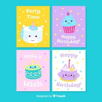 Collection de cartes d'anniversaire dessinées à la main