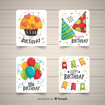 Collection de cartes d'anniversaire dessinées à la main