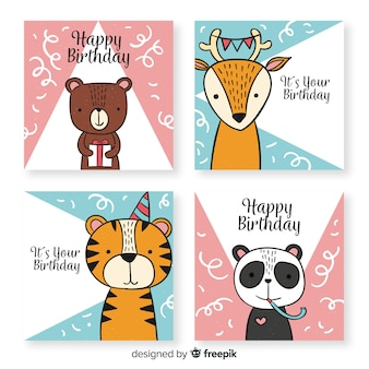 Collection de cartes d'anniversaire drôles dessinées à la main