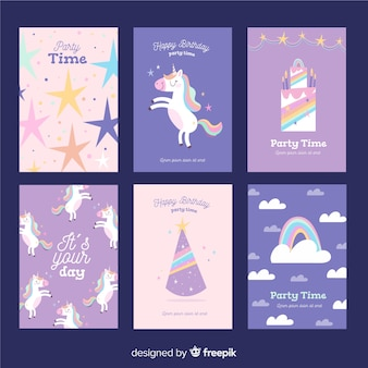 Collection de cartes d'anniversaire licorne