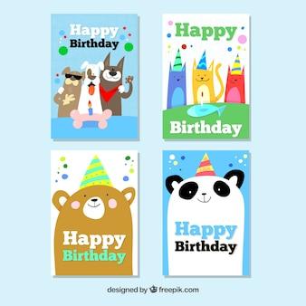 Collection de cartes d'anniversaire mignon dessinés à la main avec des animaux