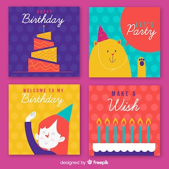 Collection de cartes d'anniversaire de personnages agitant