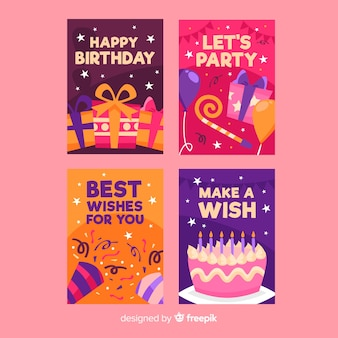 Collection de cartes d'anniversaire plates