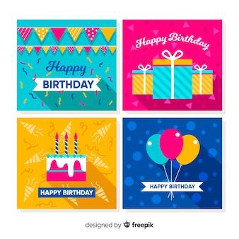 Collection de cartes d'anniversaire plates