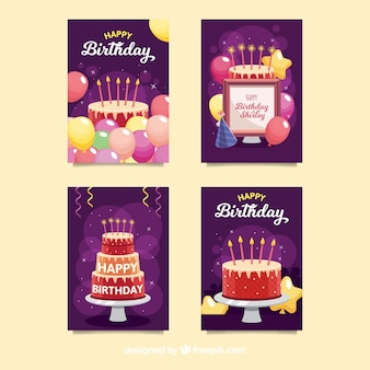 Collection de cartes d'anniversaire de quatre
