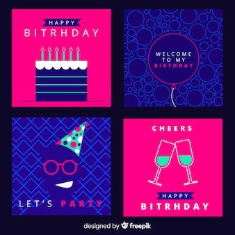 Collection de cartes d'anniversaire simple