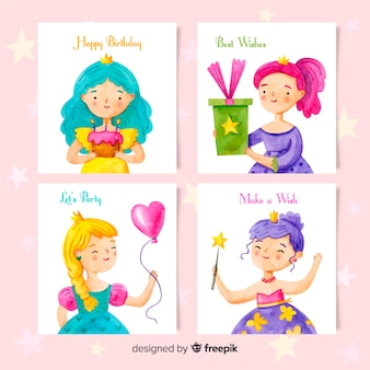 Collection de cartes d'anniversaire de style aquarelle