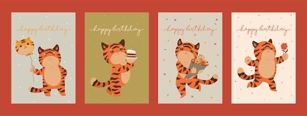 Collection de cartes d'anniversaire avec des tigres