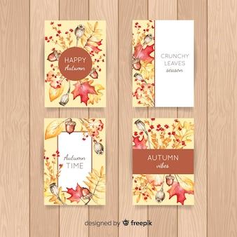 Collection de cartes aquarelle automne