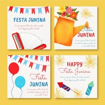 Collection de cartes aquarelle festa junina peintes à la main
