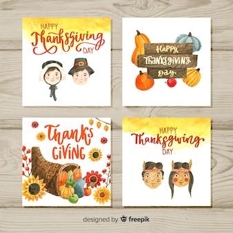 Collection de cartes aquarelle happy thanksgiving