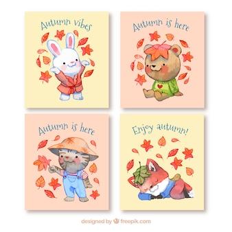 Collection de cartes automne avec des animaux marrants