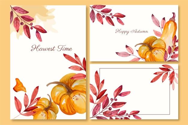 Collection De Cartes D'automne Aquarelle Vecteur gratuit