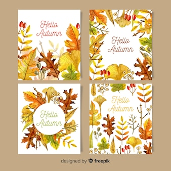 Collection de cartes automne aquarelle