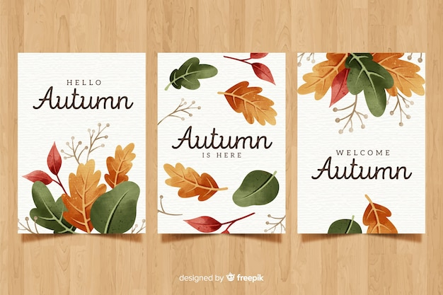 Collection de cartes automne aquarelle