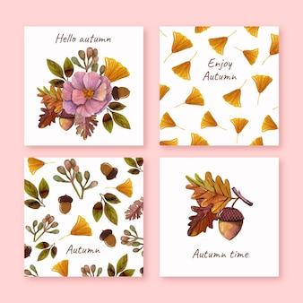 Collection de cartes d'automne aquarelle