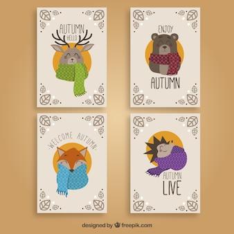 Collection de cartes automne avec de beaux animaux