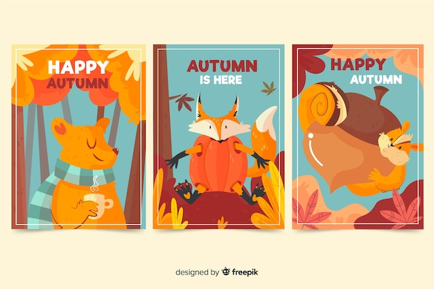 Collection de cartes automne design dessiné à la main