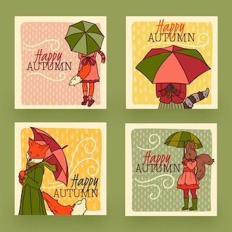 Collection de cartes d'automne design dessiné à la main